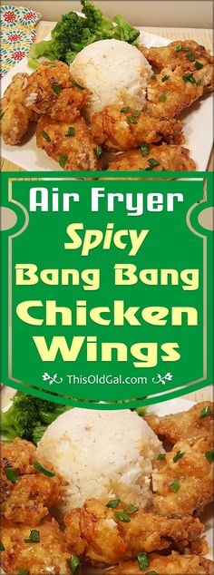Air Fryer Spicy Bang Bang Chicken Wings have a wonderful crunch and are drenched in a creamy, sweet, but spicy, chili sauce. via @thisoldgalcooks(Baking Chicken Wings)