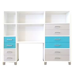 Customized Hutch in Snowdrift White with Titanium and Caribbean Drawers <3