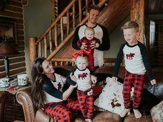 Moose and buffalo check family Christmas pajamas!