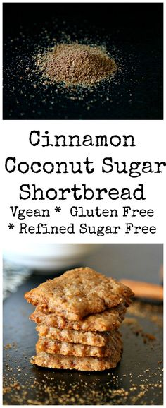 Gluten free recipe - Refined sugar free - Vegan - A cinnamoney subtly sweet coconut sugar thin shortbread. They are aromatic, delicious Gluten Free Sweets, Gluten Free Cooking, Vegan Sweets, Healthy Sweets, Vegan Gluten Free, Dairy Free, Coconut Sugar Recipes, Sugar Free Recipes, Gf Recipes