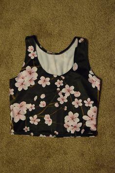 Cherry Blossom Black Reversible Crop SAMPLE