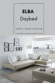 Kennt ihr schon unser Elba #daybed? Es ist nicht nur modern, sondern durch die flexiblen Rückenkissen auch individuell zu gestalten. #sofa #couch #inspiration #deko #interiordesign #furnituredesign #polstermöbel #wohnzimmerideen Elba, Sofa Couch, Interiordesign, Daybed, Furniture, Modern, Inspiration, Home Decor, Living Room Ideas