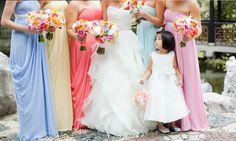 Bridal Fabric: Buy Bridal Lace Fabric Online — Women's Dress Fabric Rainbow Bridesmaid Dresses, Pastel Bridesmaids, Pastel Bridesmaid Dresses, Wedding Bridesmaid Dresses, Pastel Dresses, Daytime Wedding, Bridal Lace Fabric, Rainbow Wedding, Women's Fashion Dresses