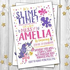 The 71 best personalised invitations images on pinterest in 2018 10 slime themed personalised birthday party invitations invites pack of 10 with free envelopes filmwisefo