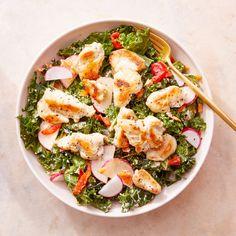Recipe: Chicken & Kale Salad with Lemon-Yogurt Dressing - Blue Apron Kale Chicken Salad, Kale Salad, Pasta Salad, Cobb Salad, Pickled Radishes, Lemon Yogurt, Salad Topping, Chicken Seasoning, Fresh Lemon Juice