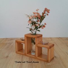 Table décor, You can add a modern touch to your table or mantel with this wood bud vase votive holder made from reclaimed pallet wood. Will also make a great gift for the wood anniversary. This listing includes the wood vase votive holder, 1 bud vase, 2 tulip votives and 4 tea