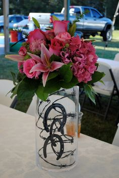 Two Shakes of a Lamb's Tail: Pink and Black Western Themed Wedding - Flowers Western Wedding Centerpieces, Quince Centerpieces, Quince Decorations, Quinceanera Centerpieces, Wedding Decorations, Black Centerpieces, Wedding Themes, Cowboy Centerpieces, Cowgirl Decorations