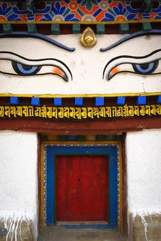 Eye of Buddha on top of an entrance in Tibet #culture #buddhist