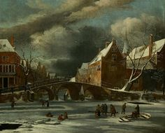 Het Spui en de Nieuwezijds Voorburgwal in de winter, 1655 - 1675