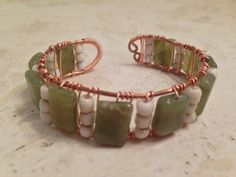 Green Copper Cuff, Bracelet, Wire Wrapped, Handcrafted, USA by PastNPresentsByAlana on Etsy