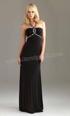 Open Back Sequin Trim Long Halter Empire Sexy Cut Out Back Black Prom Dress