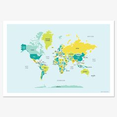shades of blue + yellow world map.