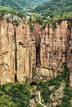 Cliffs of Guoliang Tunnel Road, Taihang Mountains, Huixian, Xinxiang, Henan Province of China