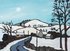 Winter near Bodfari by Modern Contemporary Artist David BARNES Seascape Paintings, Oil Painting Abstract, Landscape Paintings, Moonlight Painting, Painting Snow, Watercolor Landscape, Abstract Landscape, Watercolour, Snow Scenes