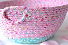 Pink Girl Basket  Home Decor Basket Handmade Fabric Basket
