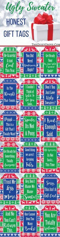 Ugly Sweater Christmas Gift Tags