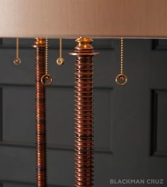 Detail: Volterra lamps by Gianni Vallino. Bronze and copper with silk shades.