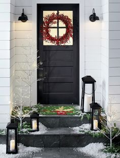 Sale ends soon. Statuesque Petaluma takes the classic paned glass lantern to new heights. Tall, rectangular frame rises to a simple silhouette black iron to let the light shine indoors or out. Small Porch Decorating, Decorating Ideas, Front Door Steps, Front Doors, Red Berry Wreath, Christmas Porch, Xmas, Christmas Vacation, Outdoor Christmas