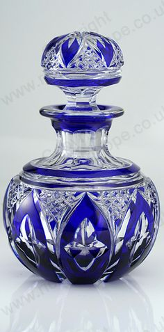 FINE c.1920s COBALT OVERLAY SPHERICAL CRYSTAL DRESSING TABLE SCENT PERFUME BOTTLE. To visit my website click here: http://www.richardhoppe.co.uk or for help or information email us here: info@richardhoppe.co.uk