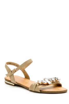 Faux Stone Embellished Flat Sandals