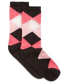 Hue Women's Argyle Pique Felt Knit Socks