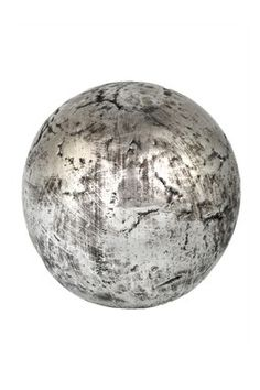 Distressed Silver Glazed Ceramic Decorative Sphere