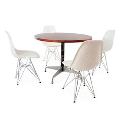 Modern Round Wooden Dining Furniture Sets with 5 Pieces Dining Furniture Sets, Dining Sets, Home Hacks, Midcentury Modern, Eames, Home And Family, Dining Table, Wood, Chairs