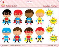 superhero clipart digital clip art super hero boys - BUY 2 GET 2 FREE - Super Boys Digital Clipart. $4.00, via Etsy.