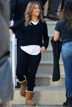 Relaxed! Jennifer Lopez was dressed down and relaxed while on set of her new film Second h...