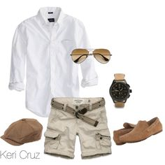 Men's Summer Fashion, created by keri-cruz on Polyvore nice cute summer outfit for men casual summer outfit for men white and khaki