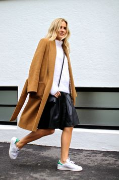 camel, leather & Stan Smiths. Lucy in London. #FashionMeNow