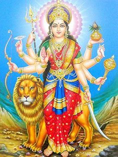 Durga, identified as Adi Parashakti, is a Hindu warrior goddess. Also known as Shakti or Devi, is the protective mother of the universe. All artwork is professionally printed on high quality heavy matte photo paper. Saraswati Goddess, Mother Goddess, Durga Maa, Shiva Shakti, Goddess Lakshmi, Shiva Hindu, Divine Mother, Maa Durga Hd Wallpaper, Navratri Puja