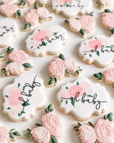 Baby Cookies, Flower Cookies, Baby Shower Cookies, Cute Cookies, Royal Icing Cookies, Birthday Cookies, Sugar Cookies, Cookie Bouquet, Heart Cookies