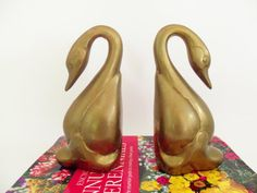 Bookends Brass Swans Heavy Large Bird Bookends by TheVintagePorch, $39.00