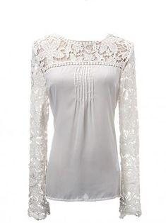 Hollow Lace Long Sleeve Front Chiffon Fold Women T-shirt