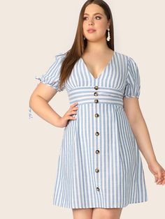 Plus V Neck Button Front Tied Cuff Striped Dress