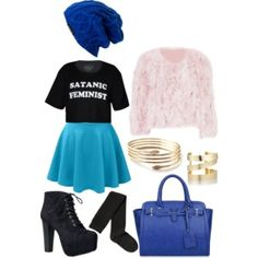 Cute blue/pink/black outfit 2015