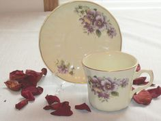 Vintage Tea Cup and Saucer Set Purple Pansy's by ShersVintageFinds