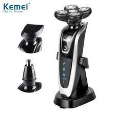 Kemei5886 New 3 in1 Washable Rechargeable Electric Shaver Triple Blade Electric Shaving Razors Men Face Care 5D Floating