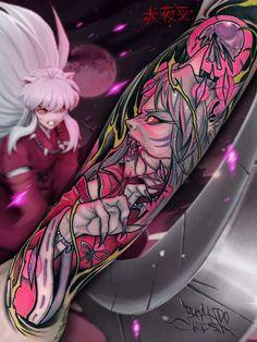 Inuyasha Tattoo by Brando Chiesa x Gabriele Bencreati Dr Tattoo, Tatto Old, Tattoo Foto, Half Sleeve Tattoo Template, Full Sleeve Tattoo Design, Full Sleeve Tattoos, Tattoo Templates, Badass Tattoos, Body Art Tattoos