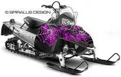 Preview of The Webby Metal sled graphic for Polaris IQ Rush RMK snowmobiles, in pink