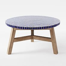 Mosaic Tiled Coffee Table - Blue Penny - inspiration for mosaic table Oval Coffee Tables, Outdoor Coffee Tables, Outdoor Lounge Furniture, Outdoor Sofa, Outdoor Spaces, Outdoor Living, Indoor Outdoor, Mosaic Coffee Table, Driftwood Table