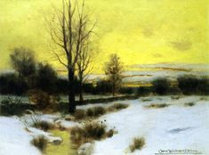 Winter Stream (ca. 1885) by Charles Warren Eaton (b. 1857; Albany, New York – d. 1937; Glen Ridge, New Jersey) Oil on canvas, h: 20.32 × w: 27.94 cm (8 × 11 in.) Private collection http://en.wikipedia.org/wiki/Charles_Warren_Eaton http://query.nytimes.com/gst/abstract.html?res=9E0CE2D91430EE35A75751C1A96F9C946694D6CF