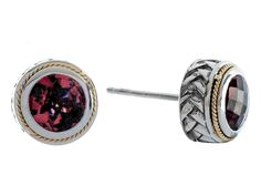 Balissima By Effy Collection Sterling Silver and 18k Yellow Gold Garnet Earrings