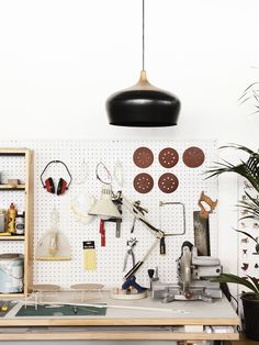 Coco Flip studio details, with black Coco pendant hanging overhead. Photo – Eve Wilson. Production – Lucy Feagins/The Design Files.