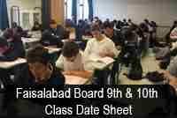 BISE Faisalabad Board 10th Class Date Sheet 2019 - Readerpk