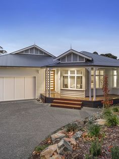 This contemporary weatherboard home was custom designed for the owners who love to entertain. The luxury home has a feature cellar and alfresco dining.