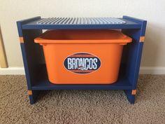 Broncos Lego* Duplo Compatible Table with Storage Bucket