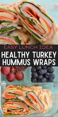 These easy Turkey Hummus Wraps come together in just a few minutes with basic ingredients like roast turkey, spinach, carrot, hummus and cheese! This is a quick and easy lunch recipe you will love! Wrap Recipes, Lunch Recipes, Easy Dinner Recipes, Breakfast Recipes, Easy Meals, Sandwich Recipes, Good Healthy Recipes, Whole Food Recipes, Skinny Recipes