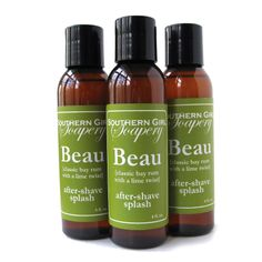 Classic bay rum with a lime twist. http://www.soapguildstores.com/southerngirlsoapery/ProductDetail.aspx?CategoryID=4148&ProductID=16320&ProductName=Beau+After-Shave+Splash